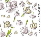seamless pattern with garlic | Shutterstock .eps vector #524683795