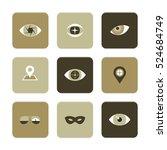 vector flat icons set   eyes... | Shutterstock .eps vector #524684749