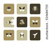 vector flat icons set   animals ... | Shutterstock .eps vector #524684755