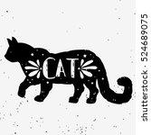 cat. hand drawn typography... | Shutterstock .eps vector #524689075