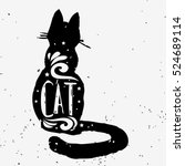 cat. hand drawn typography... | Shutterstock .eps vector #524689114