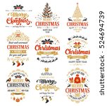 merry christmas and happy new... | Shutterstock .eps vector #524694739