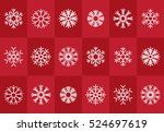 set of snowflake icons on red... | Shutterstock .eps vector #524697619