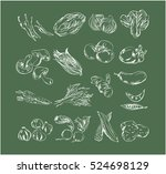 hand drawn vegetables icons | Shutterstock .eps vector #524698129