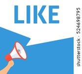 like announcement. hand holding ... | Shutterstock .eps vector #524698795