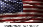 closeup of rippled american flag | Shutterstock . vector #524700319