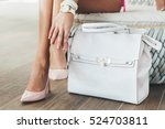 beautiful legs woman with  hand ... | Shutterstock . vector #524703811