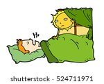 tired lazy man sleep in the bed ... | Shutterstock .eps vector #524711971