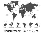 gray world map vector on white... | Shutterstock .eps vector #524712025