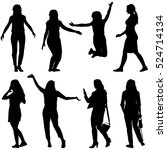 black silhouettes of beautiful... | Shutterstock .eps vector #524714134