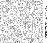 seamless pattern with christmas ... | Shutterstock .eps vector #524719567