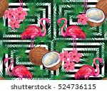 summer jungle pattern with with ... | Shutterstock .eps vector #524736115