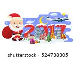 happy new year 2017. traveling... | Shutterstock . vector #524738305