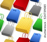 different colorful paper bags... | Shutterstock .eps vector #524739085