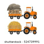 tractor with trailer... | Shutterstock .eps vector #524739991
