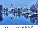 winter evening in the snow... | Shutterstock . vector #52474246