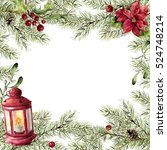 Watercolor Christmas Card. Fir...