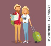 travelling couple going to go... | Shutterstock .eps vector #524750194