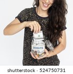 woman giving money donation... | Shutterstock . vector #524750731
