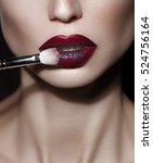 close up shot of woman lips... | Shutterstock . vector #524756164
