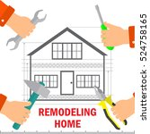 remodeling. home renovation and ... | Shutterstock .eps vector #524758165