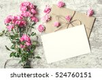 blank white greeting card with... | Shutterstock . vector #524760151