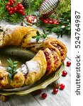 christmas baking wreath with... | Shutterstock . vector #524764987