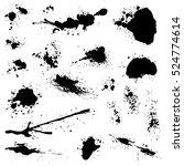 set of black blots and ink...   Shutterstock .eps vector #524774614