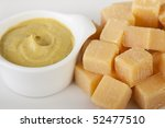 Closeup of Dutch cheese and mustard - stock photo