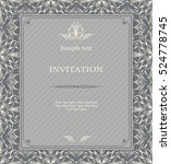 vintage invitation card with... | Shutterstock .eps vector #524778745