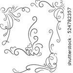 set of 4 ornamental decorative... | Shutterstock .eps vector #524782357