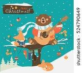 cute bear and little fox... | Shutterstock .eps vector #524790649