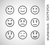 emotions face set isolated on... | Shutterstock . vector #524791924