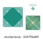 vector wedding card laser cut... | Shutterstock .eps vector #524796685
