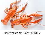Boiled Crayfish On The White...