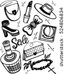 fashion and beauty set. shoes ... | Shutterstock .eps vector #524806834