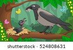 Vector Scene With Cartoon Crow...