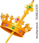 mardi gras crown and scepter | Shutterstock .eps vector #524812555