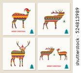 set of deer cards. merry... | Shutterstock .eps vector #524813989