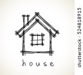 house icon. doodle hand drawn... | Shutterstock . vector #524818915