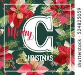 christmas poinsettia flowers... | Shutterstock .eps vector #524825059