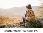 young travel girl sitting at... | Shutterstock . vector #524831197
