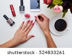 a mid shot of manicured in pink ... | Shutterstock . vector #524833261