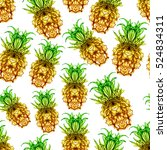 pineapple seamless pattern on... | Shutterstock . vector #524834311