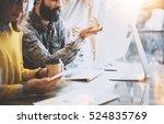 young team of coworkers working ... | Shutterstock . vector #524835769