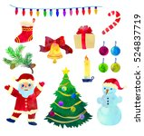 set with funny christmas...   Shutterstock .eps vector #524837719