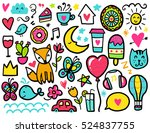 doodles cute elements. color... | Shutterstock .eps vector #524837755