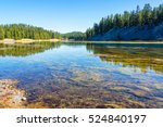 Yellowstone River landscape with beautiful forest reflection in Yellowstone National Park