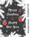 merry christmas blackboard card | Shutterstock .eps vector #524840719