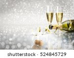toast champagne new year ... | Shutterstock . vector #524845729